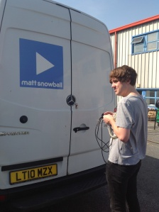 Chris Of Gum loading the van in London ready to hit the road